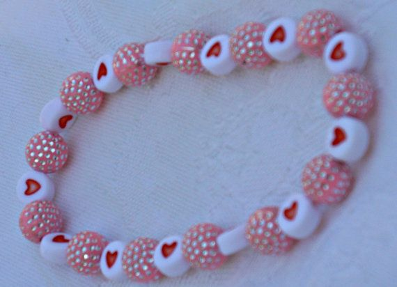 Special bracelet made of pink beads and white by CelestialStudio13, $19.00
