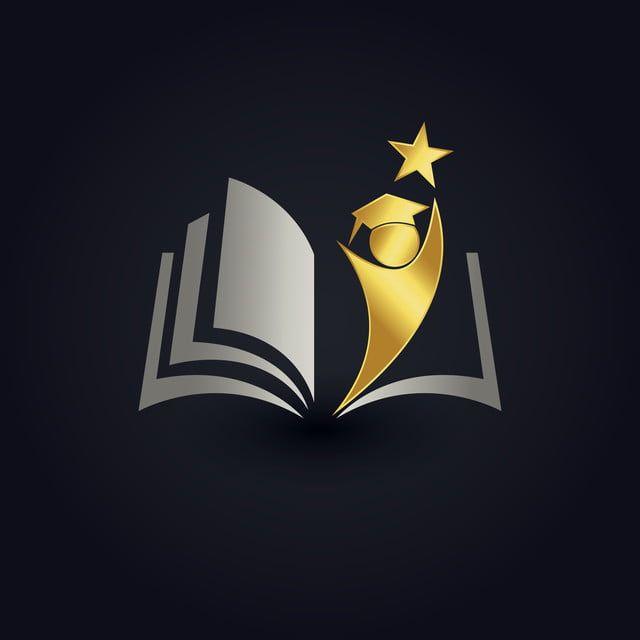 شعار التعليم الفاخرة مع تأثير الذهبي Education Logo Library Logo Education Logo Design