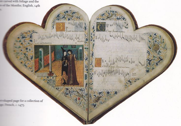 French music book from c. 1475.  Medieval Panorama, p. 125.