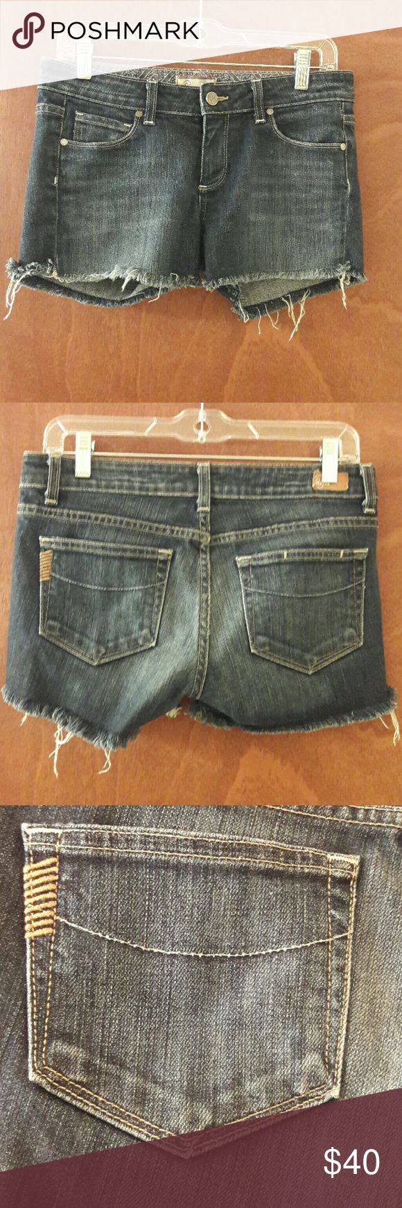 Paige Jean Shorts Premium Denim Size 28 NWOT Paige premium denim women's shorts, size 28. Slightly distressed look with frayed bottoms. New with out tags. Never been worn. Paige Jeans Shorts Jean Shorts