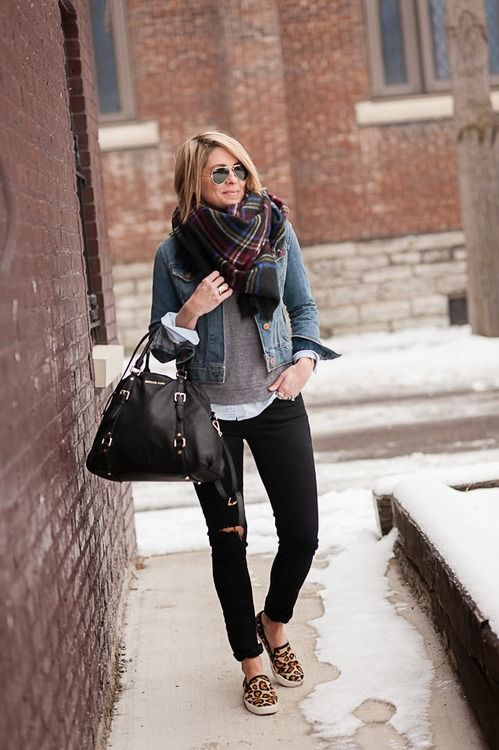 Casual fall. Black skinnies, leopard print slip ons, denim jacket, and a thick scarf.