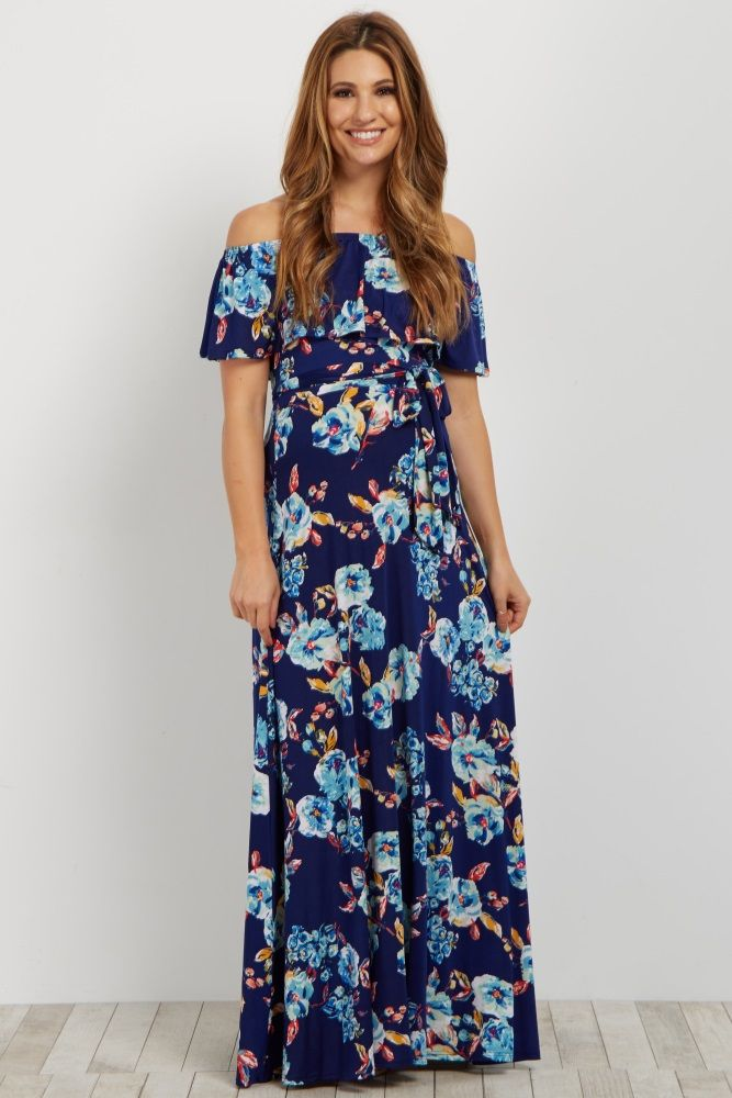 fcc427e6f5afb Floral printed off shoulder maternity maxi dress. Sash tie. Cinched  neckline with ruffle trim. This style was created to be worn before,  during, ...