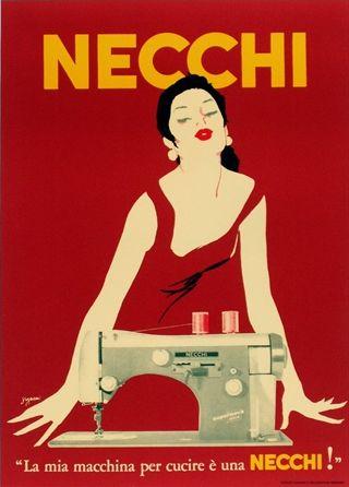 """By Gragnani, c.1960, Necchi: """"La mia machina per ecrire è una Necchi"""". (I)"""