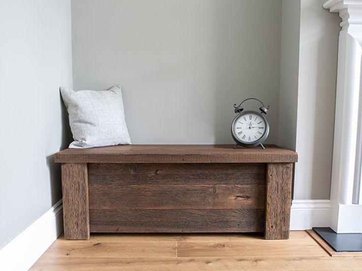 rustic wooden Hudson blanket box #eatsleeplive #reclaimedwood #bedroom