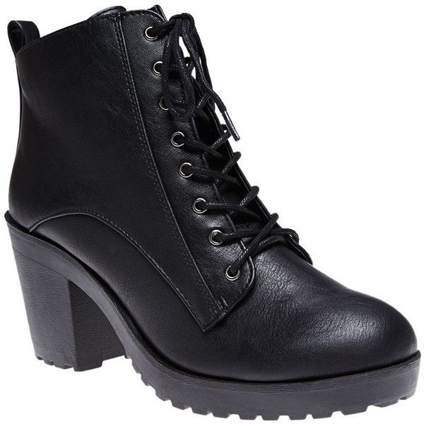 Chic with a touch of tomboy edge, these heeled combat boots are scoring some major style points in our book! Features include a distressed faux leather upper w…