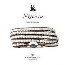 Mychau - Bracciale Vietnam originale realizzato con Madreperla naturale su base bracciale col. Marrone