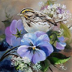 Art: Lacey Pansies web by Artist Paulie Rollins