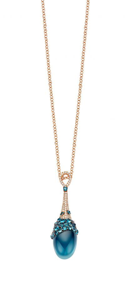Doha Jewelry collection ~ London topaz and diamond pendant necklace by Tirisi Jewelry