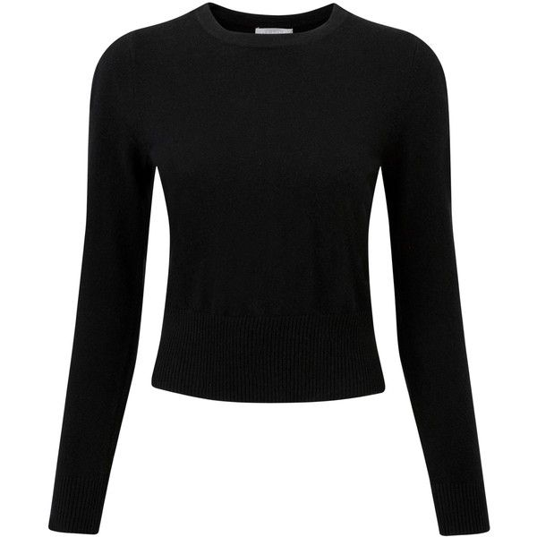 Pure Collection Abbey Cashmere Jumper, Black found on Polyvore featuring tops, sweaters, cashmere sweaters, jumper top, jumpers sweaters, black cashmere sweater and black top