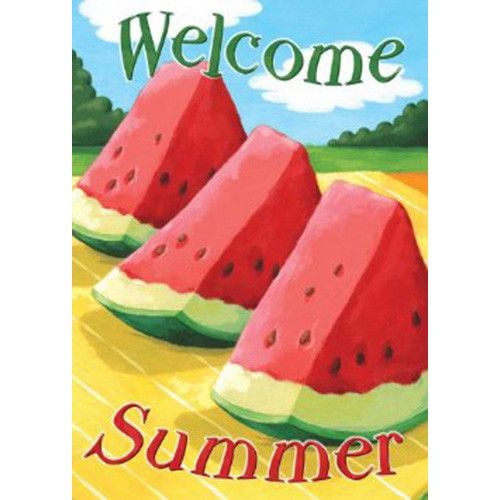 About the Design Juicy watermelon create this Welcome Summer Message - Welcome About the Flag Decorate your home and garden with beautiful sublimated garden flags from Toland featuring trendy designs from licensed artists. Sublimated Garden Flags come in brilliant, vivid colors on light weight washable fabric. They are durable and resistant to both mildew and fade. Toland's Sublimated Flags are made with permanently dyed polyester using high quality heat sublimation printing. Toland's Dye Sublimation process ensures proper transfer of dyes into the fabric with excellent clarity in color range and design details. Features: Printed In The USA Size: Garden - 12.5