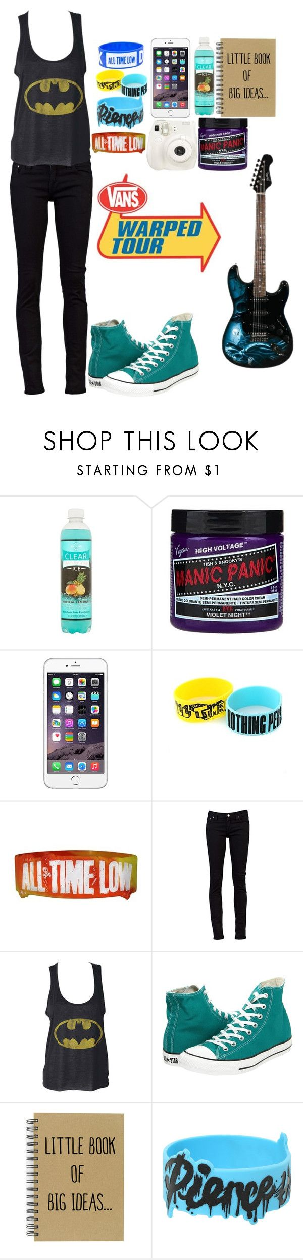 """~Performing At Warped Tour~"" by xxbandbabexx ❤ liked on Polyvore featuring Manic Panic NYC, Nudie Jeans Co., Converse, Fuji and Hot Topic"