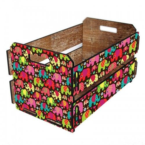 caixote de madeira elefantinhos
