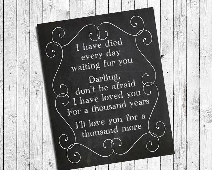 A THOUSAND YEARS 8x10 Faux Chalkboard Background Print - Christina Perri, Twilight Song Lyrics