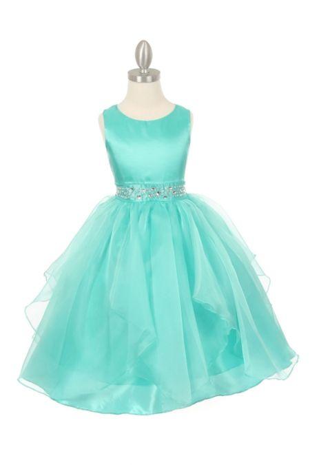 Aqua Taffeta and Organza Overlay Flower Girl Dress with Dazzling Rhinestones CC-1198-AQ on www.GirlsDressLine.Com