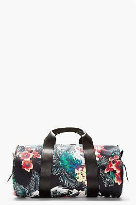 3.1 Phillip Lim Navy Tropical Print Duffle Bag for men | SSENSE