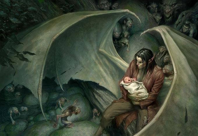 "Short Story: dragon (human form) and infant. ""All was fine ..."