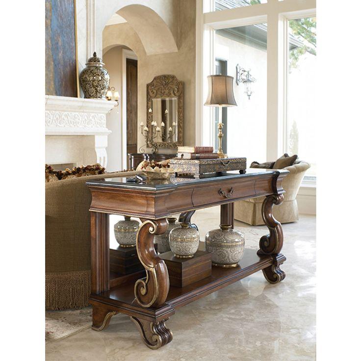 drexel bedroom set%0A Casa Vita Mancini Console with Black Granite Top by Drexel Heritage