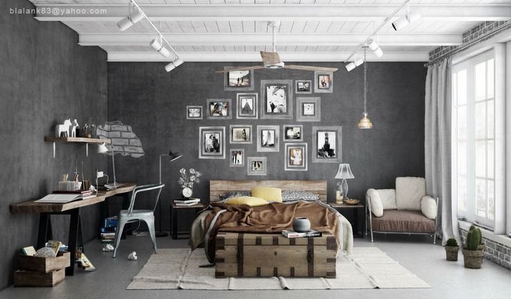 obsessed with this cool masculine industrial grey bedroom - the chalk grey walls with photo collage and walnut wood furniture are pretty incrediballs :)