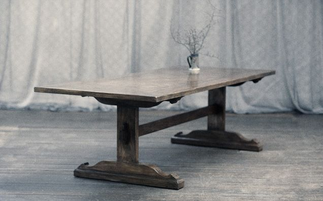 Oak Parquetry dining table made from aged American Oak