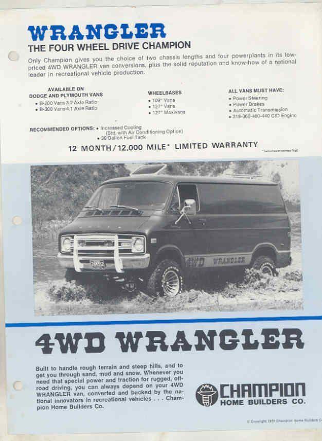 1978 Dodge wrangler 4wd van sales brochure - DodgeForum.com
