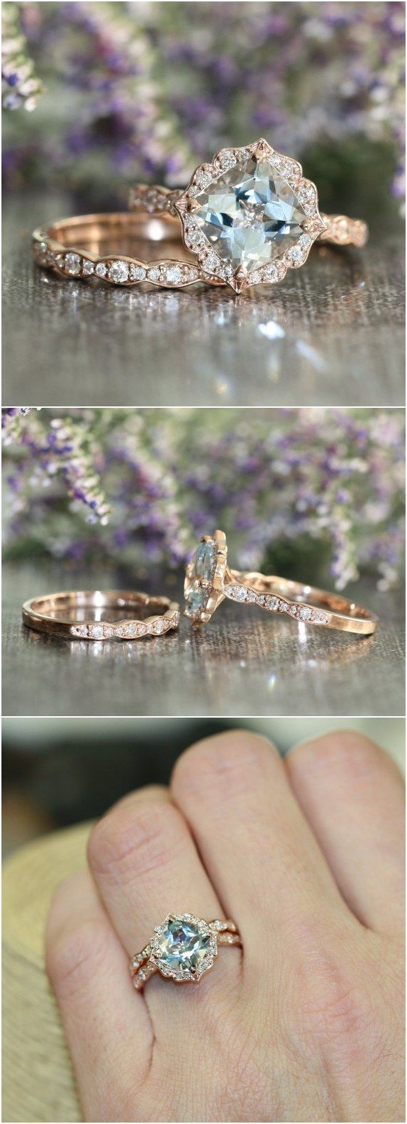 Vintage Floral Aquamarine Engagement Ring and Scalloped Diamond Wedding Band Bridal Set / http://www.deerpearlflowers.com/floral-inspired-engagement-rings/