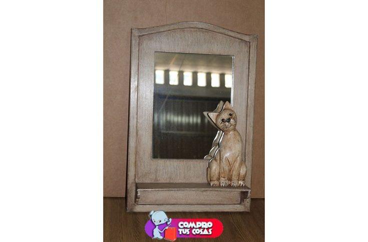 bonito espejo de madera con decoración de un gato, de venta en compro tus cosas