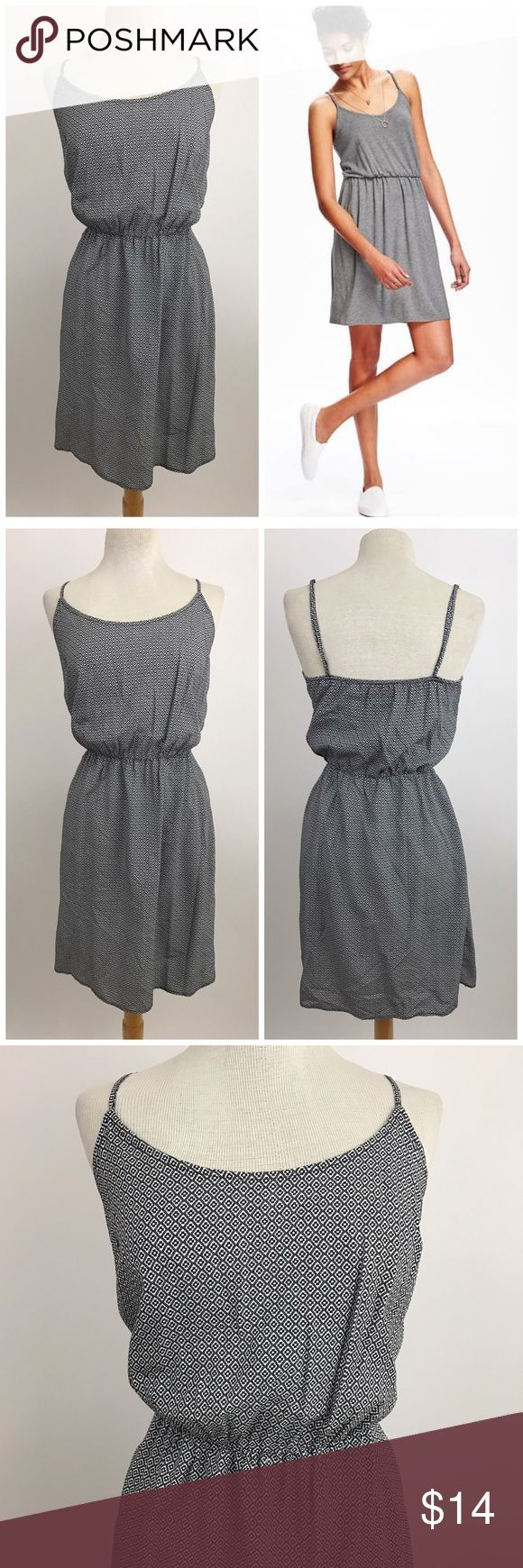 """Old Navy Cami Waisted Dress Light and breezy fitted dress from Old Navy. Adjustable spaghetti straps, cinched waist. White and black pattern.  Size medium  Waist 13"""" Length 32""""  Model is wearing same dress different pattern. Listed for fit reference.  **Price is firm unless bundled Old Navy Dresses Midi"""