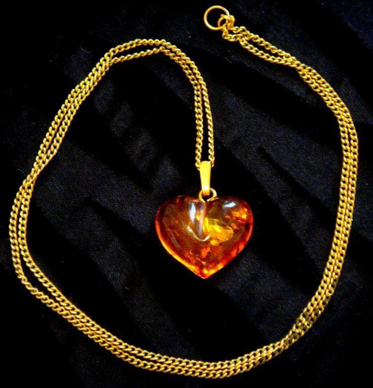 Колье Ожерелье Сердце Янтарь Прибалтика 70е Винтаж