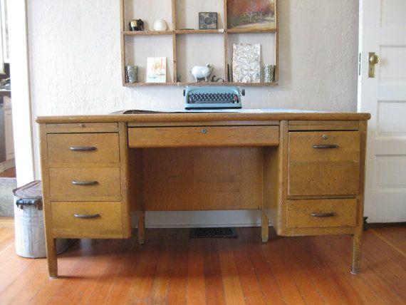 School Teacher Desk Vintage Wood Receptions My Mom