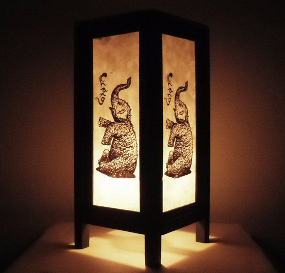 Thai Handmade Asian Oriental Classic Elephant Craft Paper Lamp Bedside Table Light Home Decor Bedroom Decoration Modern Thailand on Etsy, $12.68