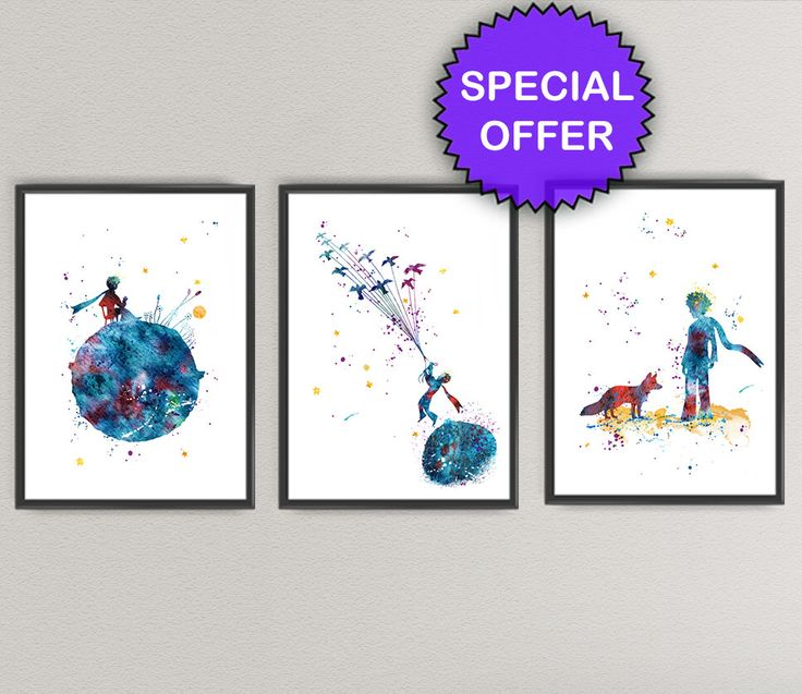 THE LITTLE PRINCE Watercolor Art Print Pack Nº2- Le Petit Prince Nursery Ink…