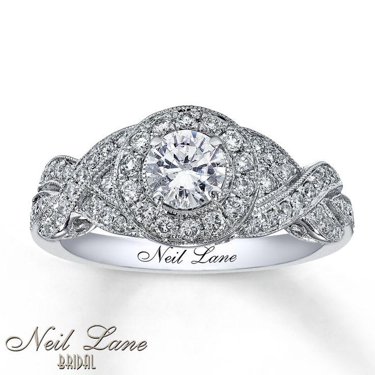 DIAMOND ENGAGEMENT RING 1 CT TW ROUND-CUT 14K WHITE GOLD