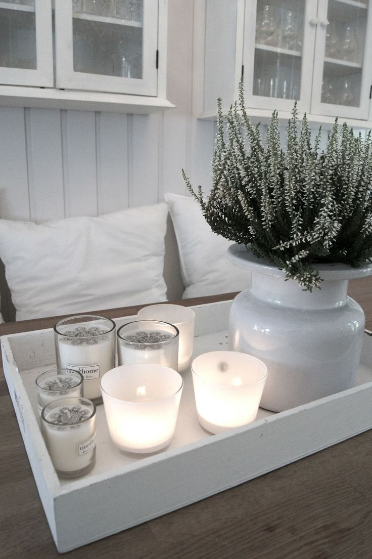 White option: white heather plants for smaller designs, planted in painted grey pots.