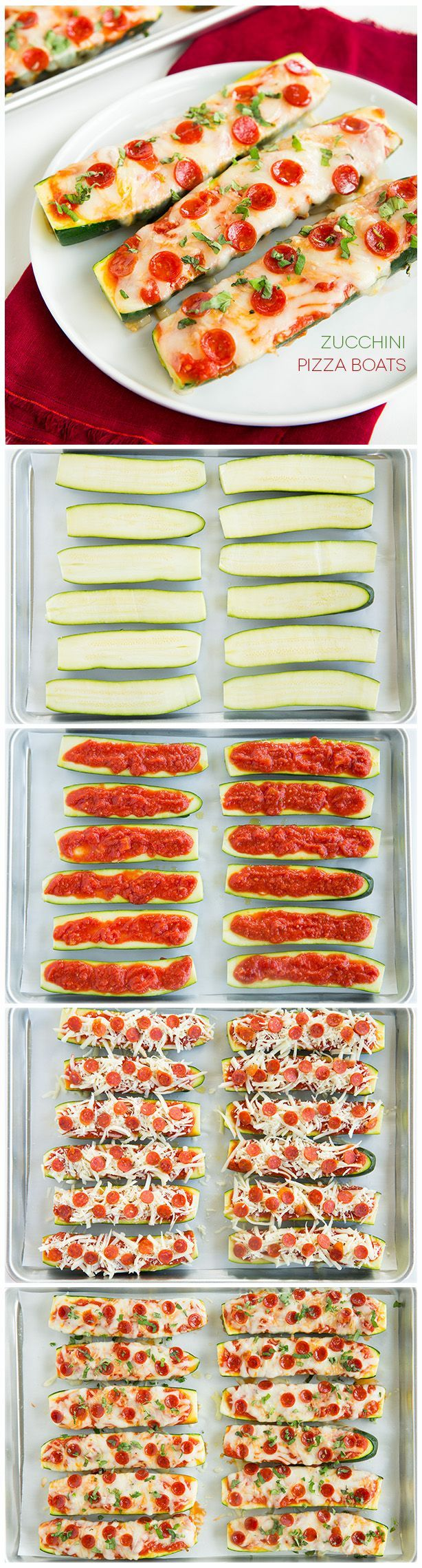 Love this creative way to enjoy the flavors of pizza but with a healthy twist! Zucchini Pizza Boats - only take about 10 minutes prep!