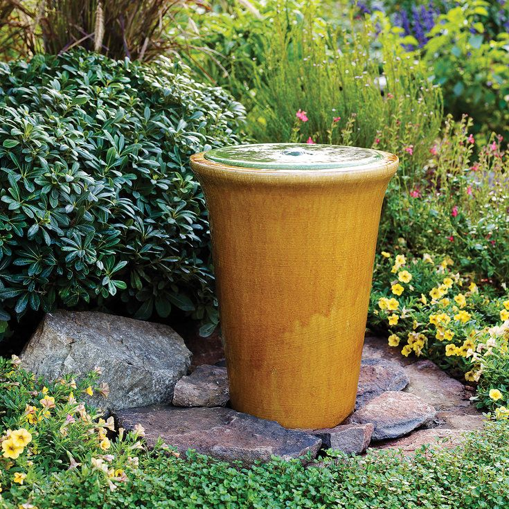 112 best images about fountains on pinterest backyards for Pot water feature ideas