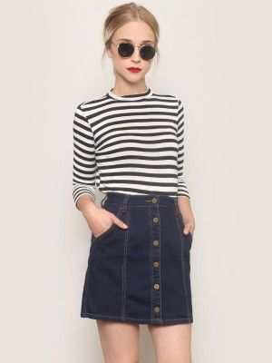 round sunglasses, red lips, striped tee & button-frontdenim skirt #style #fashion #stripes