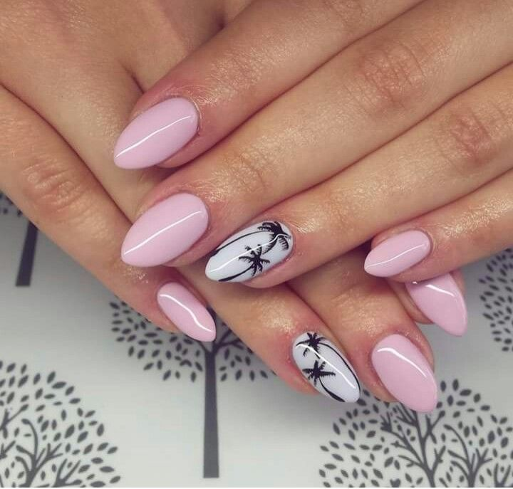 Adorable nails | light pink with palm tree design
