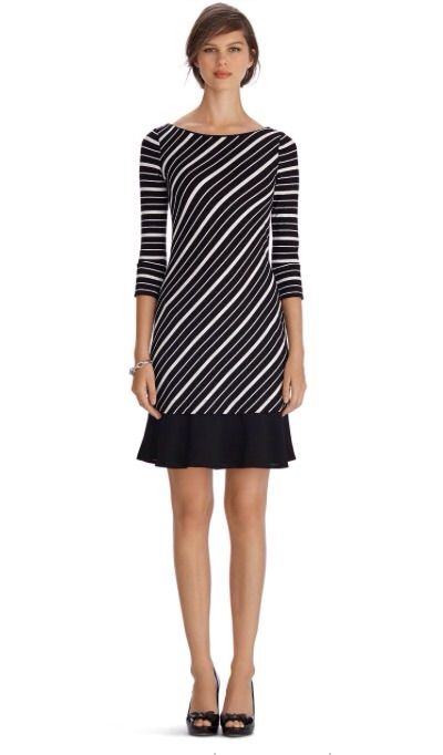 White House   Black Market 3/4 Sleeve Stripe Flounce Chemise Dress #whbm  Cute one but I'm not a fan of the material viscose :(