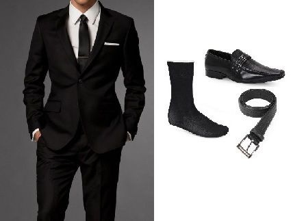 terno preto com acessorios