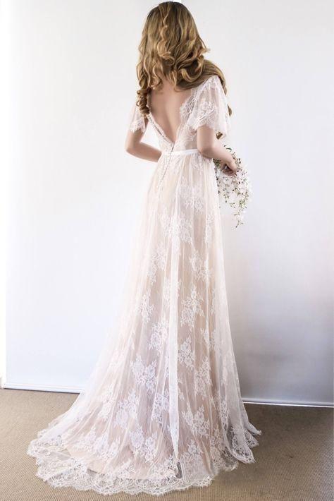 A-line Rustic Wedding Dress V neck Short Sleeve Lace Wedding Dress AMY1767 – A…