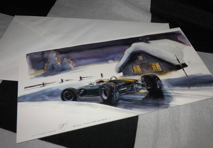 LOTUS 41 F2 F3 CAR HILL CLIMB NEW ART PRINT CHRISTMAS NOEL GREETINGS GIFT CARD #UlisRacingLegends #Christmas
