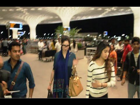 Sridevi with her husband and daughters snapped at Mumbai Airport.