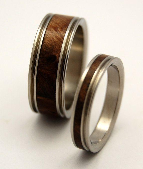 Anillos de boda de madera, anillo de titanio, anillos de boda de titanio, anillos ecológicos, anillo para hombres, damas anillo   – Eheringe schlicht