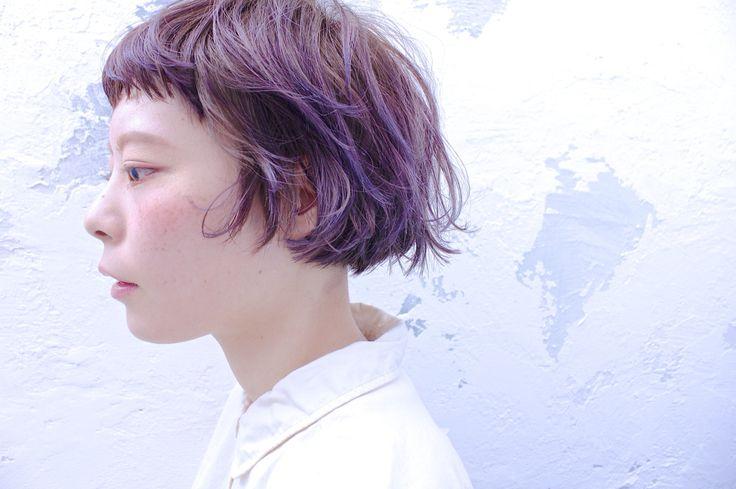 TRENCH  yui_style. ショートボブ✖︎ベビーバング パープルのハイライトで動きと個性をプラス。