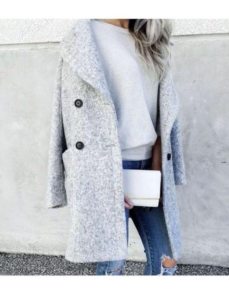NWT  ZARA Gray Marl Coat Crossover Double Breasted Jacket Size M Ref.8073/029 #ZARA #BasicCoat