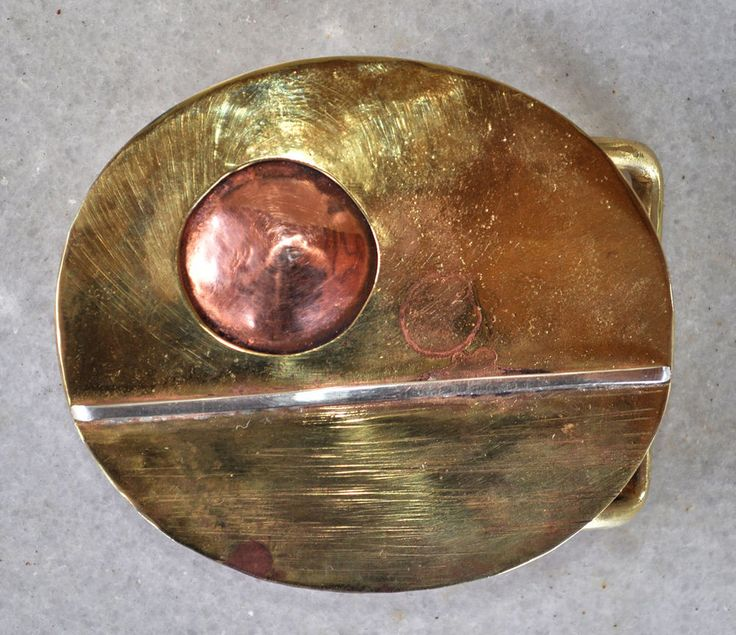 "Handmade Belt Buckle ""SUNSET"" in brass and copper  #Casual"