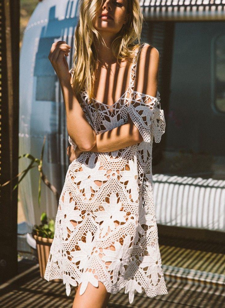 For Love and Lemons Monaco Crochet Coverup in Ivory | Nic del Mar
