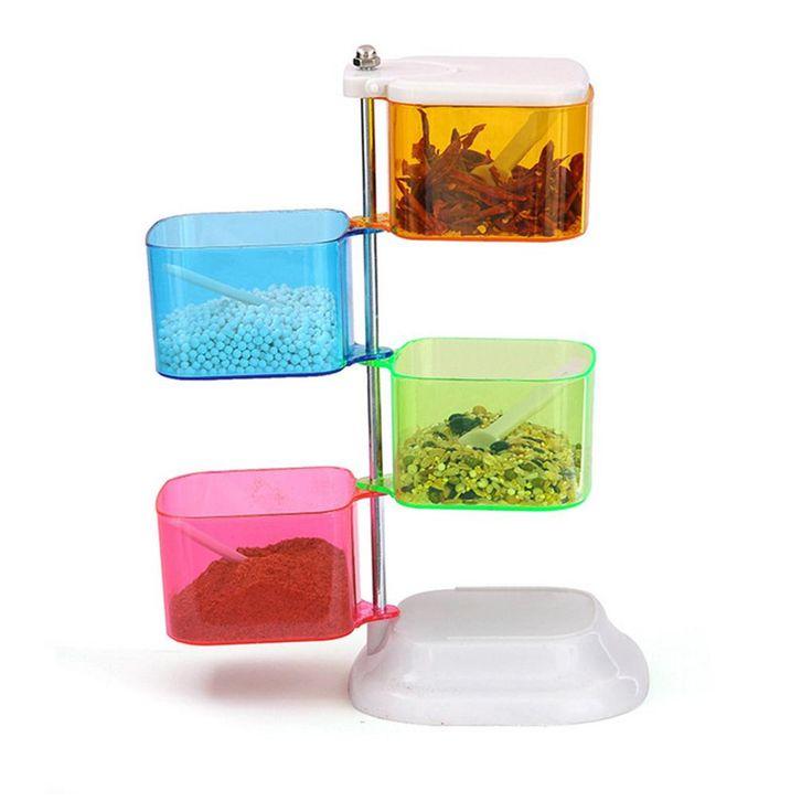 Дом инструменты 360 градусов Поворотный удобный цвет семья из четырех приправа коробка кухня специи банку лучшие продажи купить на AliExpress