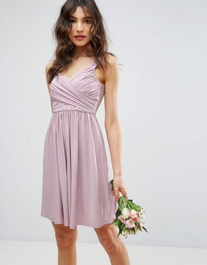 ASOS DESIGN Bridesmaid drape front mini dress  a0384a9f18090