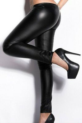 bcecd814b233c Wet Look Zippered Leather Leggings LC79622 women fashion PU pants hot sale  new | eBay